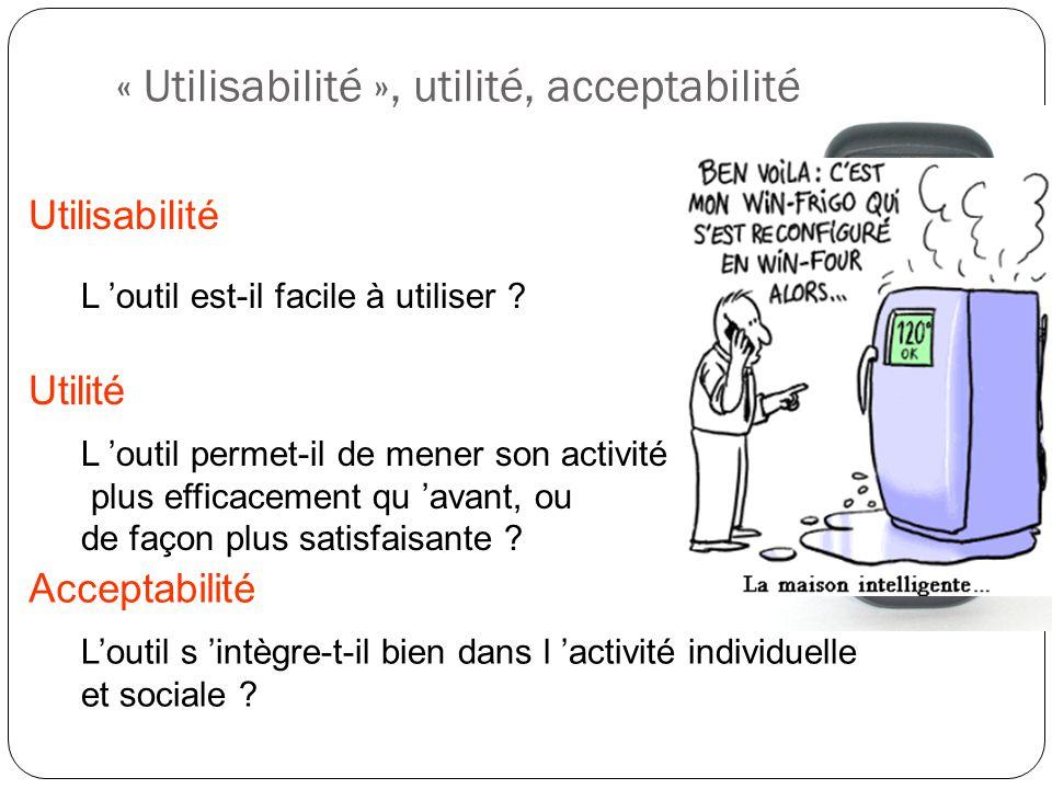 « Utilisabilité », utilité, acceptabilité L outil permet-il de mener son activité plus efficacement qu avant, ou de façon plus satisfaisante ? Utilité