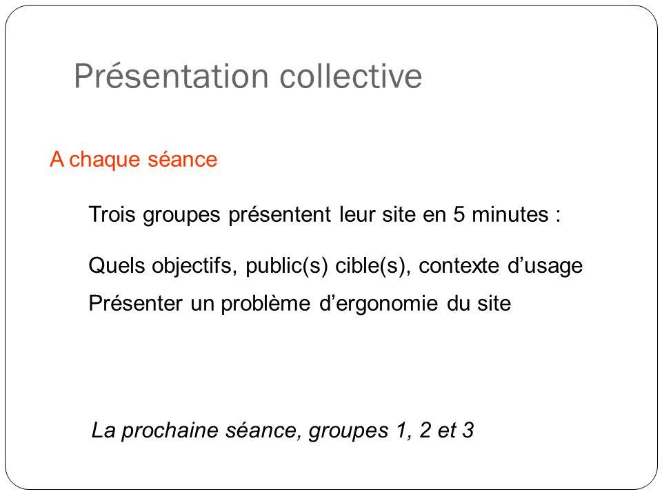 Présentation collective A chaque séance Trois groupes présentent leur site en 5 minutes : La prochaine séance, groupes 1, 2 et 3 Présenter un problème dergonomie du site Quels objectifs, public(s) cible(s), contexte dusage