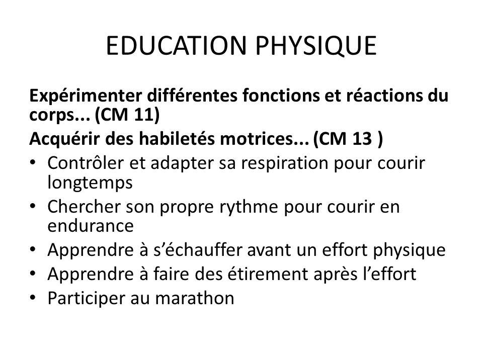 EDUCATION PHYSIQUE Expérimenter différentes fonctions et réactions du corps...