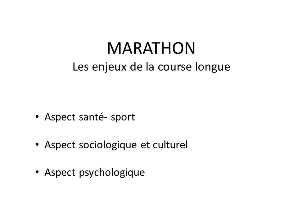 MARATHON Les enjeux de la course longue Aspect santé- sport Aspect sociologique et culturel Aspect psychologique