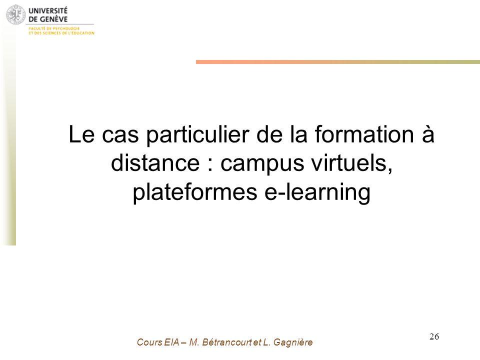 Grenoble 13 Novembre 2009 - M. Bétrancourt 26 Cours EIA – M. Bétrancourt et L. Gagnière Le cas particulier de la formation à distance : campus virtuel