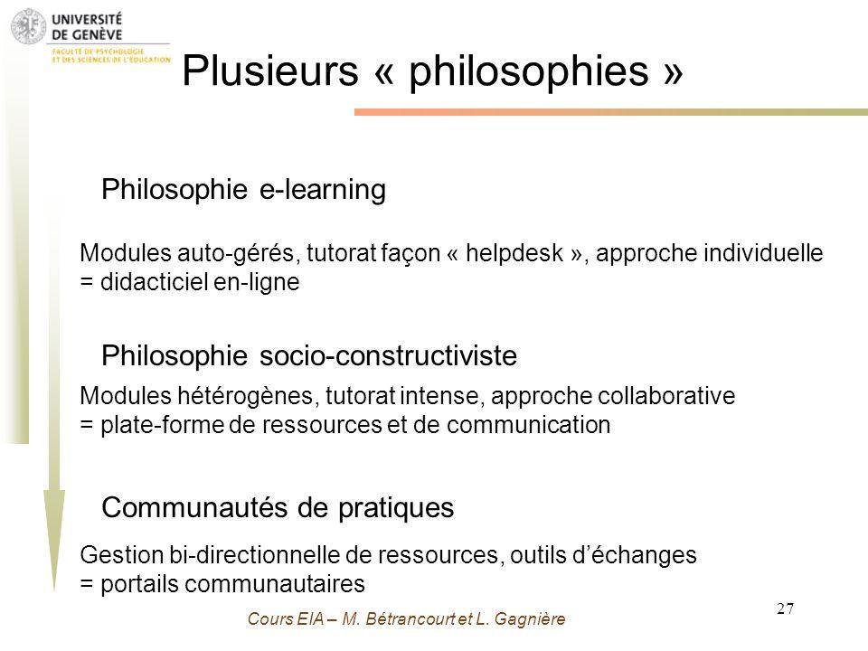 Grenoble 13 Novembre 2009 - M. Bétrancourt 27 Cours EIA – M. Bétrancourt et L. Gagnière Plusieurs « philosophies » Philosophie e-learning Modules auto