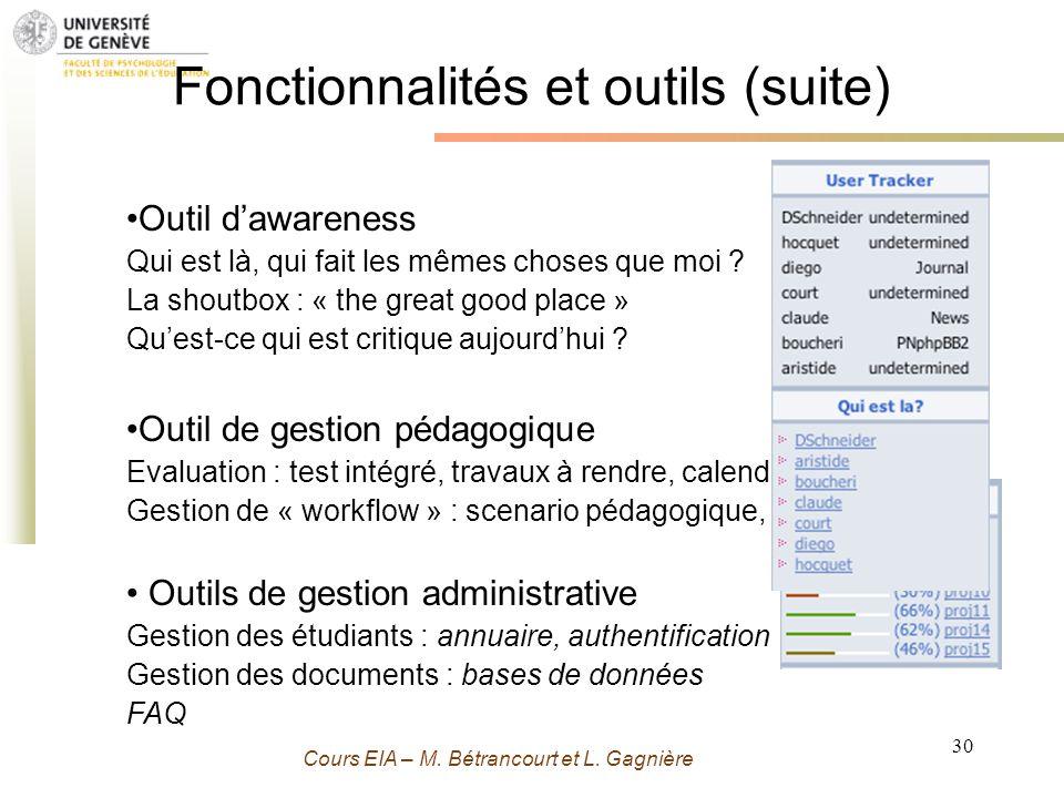 Grenoble 13 Novembre 2009 - M. Bétrancourt 30 Cours EIA – M. Bétrancourt et L. Gagnière Fonctionnalités et outils (suite) Outil dawareness Qui est là,