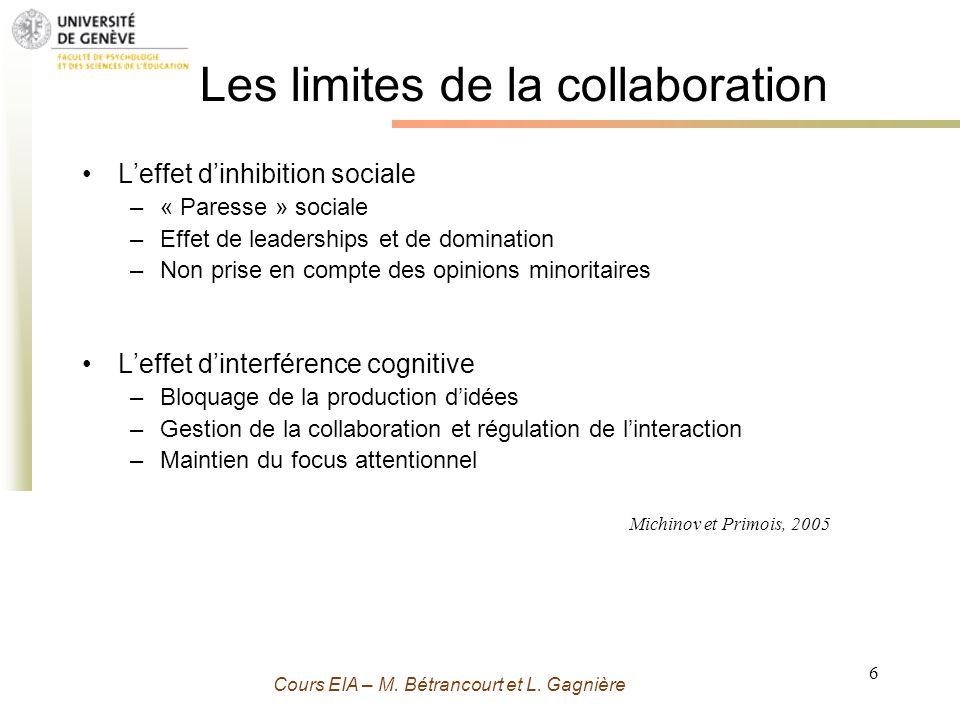 Grenoble 13 Novembre 2009 - M. Bétrancourt 6 Cours EIA – M. Bétrancourt et L. Gagnière Leffet dinhibition sociale –« Paresse » sociale –Effet de leade