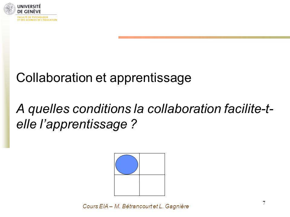 Grenoble 13 Novembre 2009 - M. Bétrancourt 7 Cours EIA – M. Bétrancourt et L. Gagnière Collaboration et apprentissage A quelles conditions la collabor