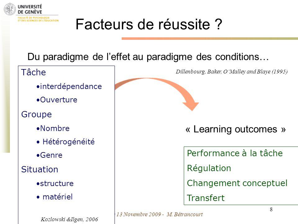 Grenoble 13 Novembre 2009 - M. Bétrancourt 8 Facteurs de réussite ? Performance à la tâche Régulation Changement conceptuel Transfert « Learning outco