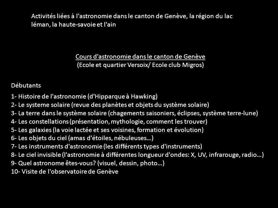 Cours d'astronomie dans le canton de Genève (Ecole et quartier Versoix/ Ecole club Migros) 1- Histoire de l'astronomie (d'Hipparque à Hawking) 2- Le s