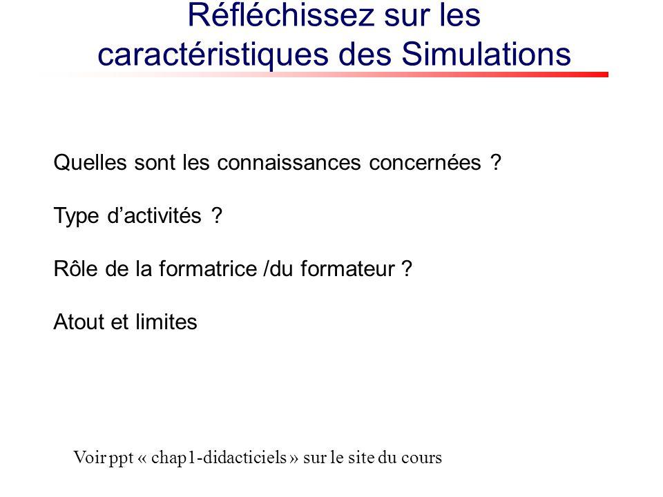 Réfléchissez sur les caractéristiques des Simulations Quelles sont les connaissances concernées .