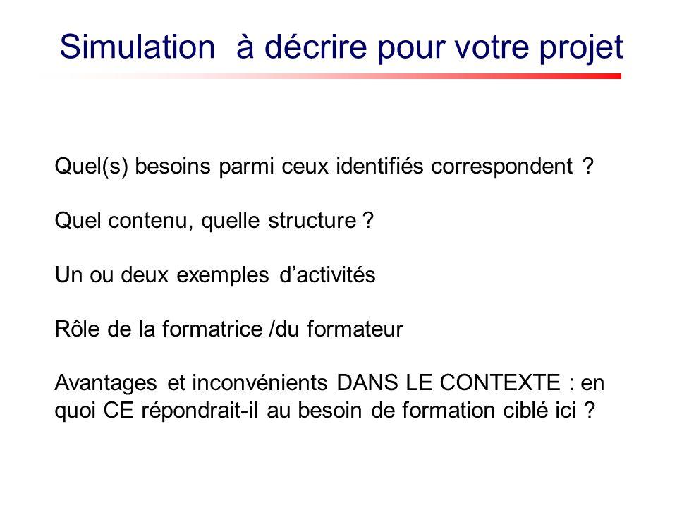 Simulation à décrire pour votre projet Quel(s) besoins parmi ceux identifiés correspondent .