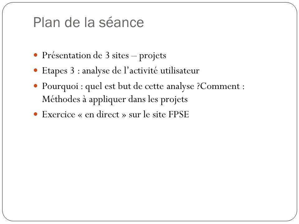 Plan de la séance Présentation de 3 sites – projets Etapes 3 : analyse de lactivité utilisateur Pourquoi : quel est but de cette analyse Comment : Méthodes à appliquer dans les projets Exercice « en direct » sur le site FPSE