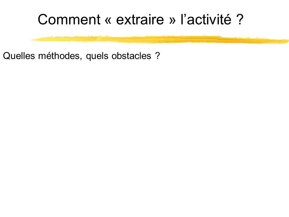 Comment « extraire » lactivité ? Quelles méthodes, quels obstacles ?
