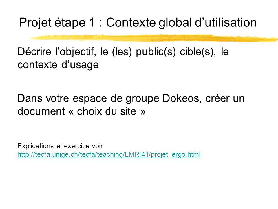 Projet étape 1 : Contexte global dutilisation Explications et exercice voir http://tecfa.unige.ch/tecfa/teaching/LMRI41/projet_ergo.html http://tecfa.unige.ch/tecfa/teaching/LMRI41/projet_ergo.html Décrire lobjectif, le (les) public(s) cible(s), le contexte dusage Dans votre espace de groupe Dokeos, créer un document « choix du site »