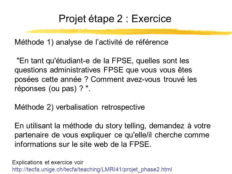 Projet étape 2 : Exercice Explications et exercice voir http://tecfa.unige.ch/tecfa/teaching/LMRI41/projet_phase2.html Méthode 1) analyse de lactivité de référence En tant qu étudiant-e de la FPSE, quelles sont les questions administratives FPSE que vous vous êtes posées cette année .