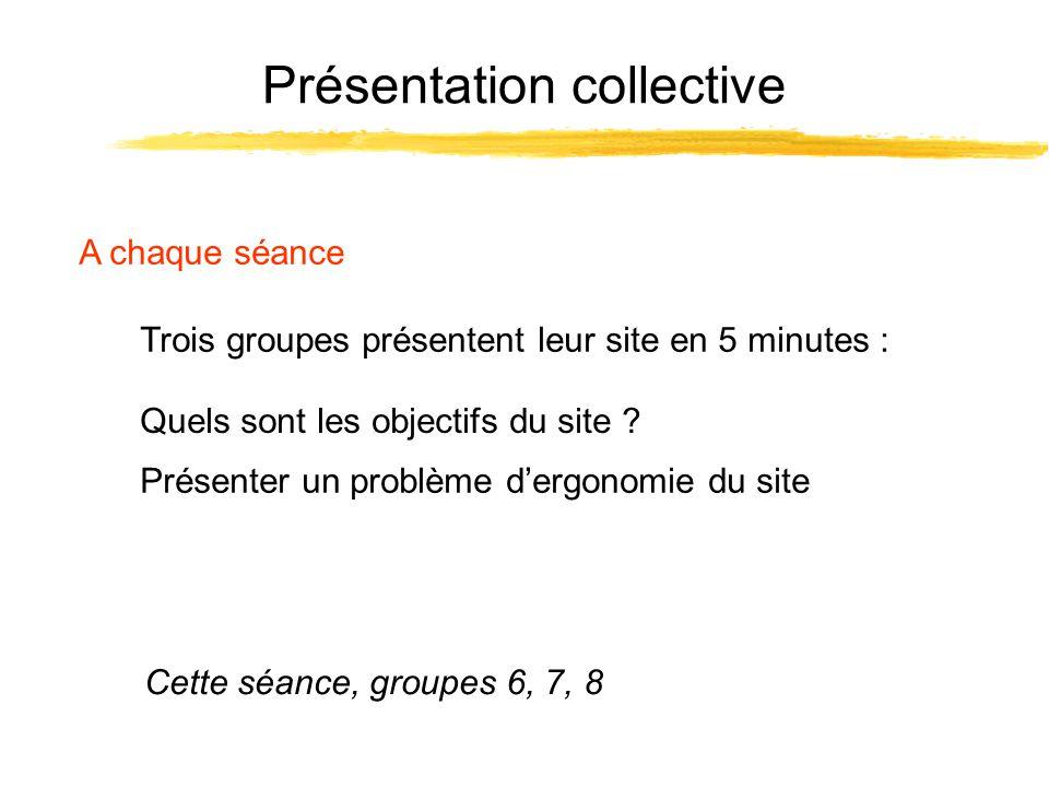 Présentation collective A chaque séance Trois groupes présentent leur site en 5 minutes : Cette séance, groupes 6, 7, 8 Présenter un problème dergonomie du site Quels sont les objectifs du site ?