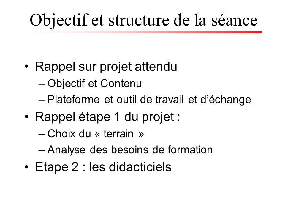 Objectif et structure de la séance Rappel sur projet attendu –Objectif et Contenu –Plateforme et outil de travail et déchange Rappel étape 1 du projet : –Choix du « terrain » –Analyse des besoins de formation Etape 2 : les didacticiels