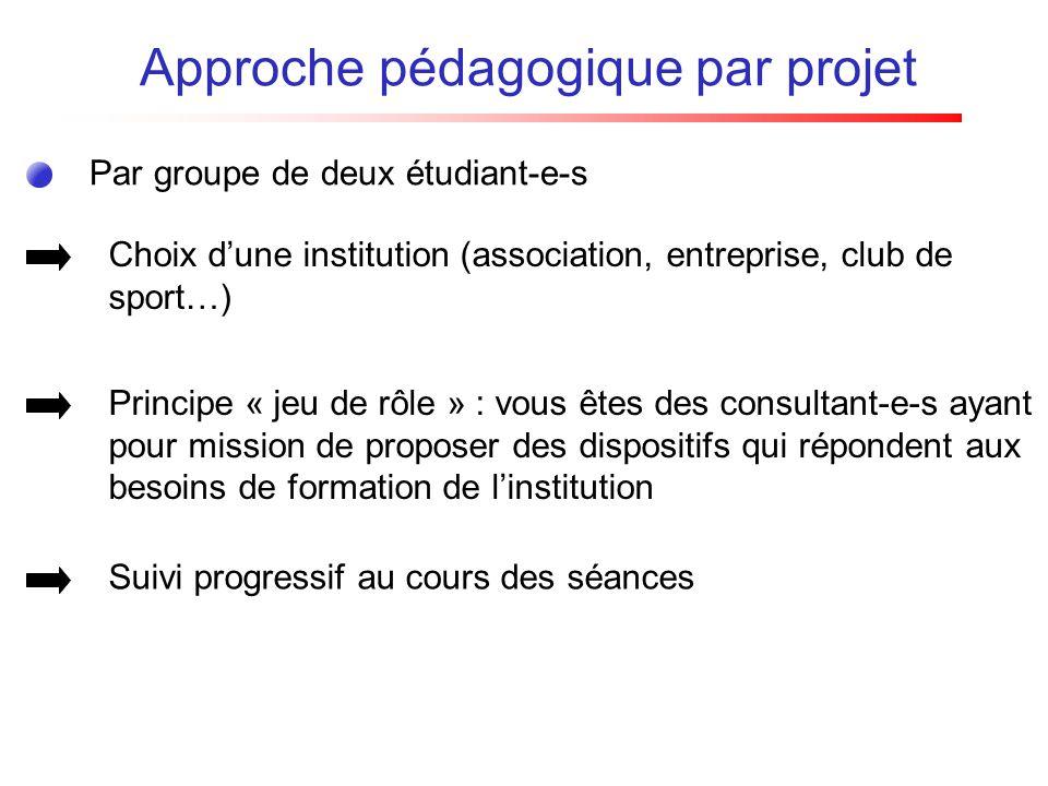 Par groupe de deux étudiant-e-s Approche pédagogique par projet Choix dune institution (association, entreprise, club de sport…) Principe « jeu de rôl