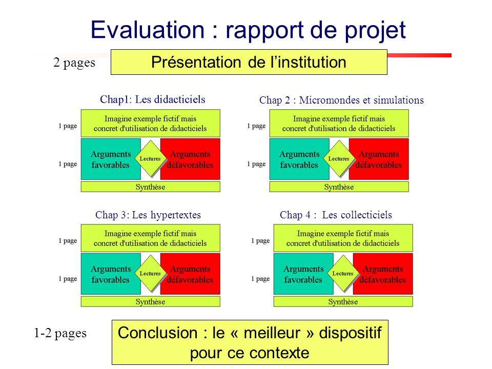 Présentation de linstitution 2 pages Conclusion : le « meilleur » dispositif pour ce contexte 1-2 pages Evaluation : rapport de projet Chap 4 : Les co