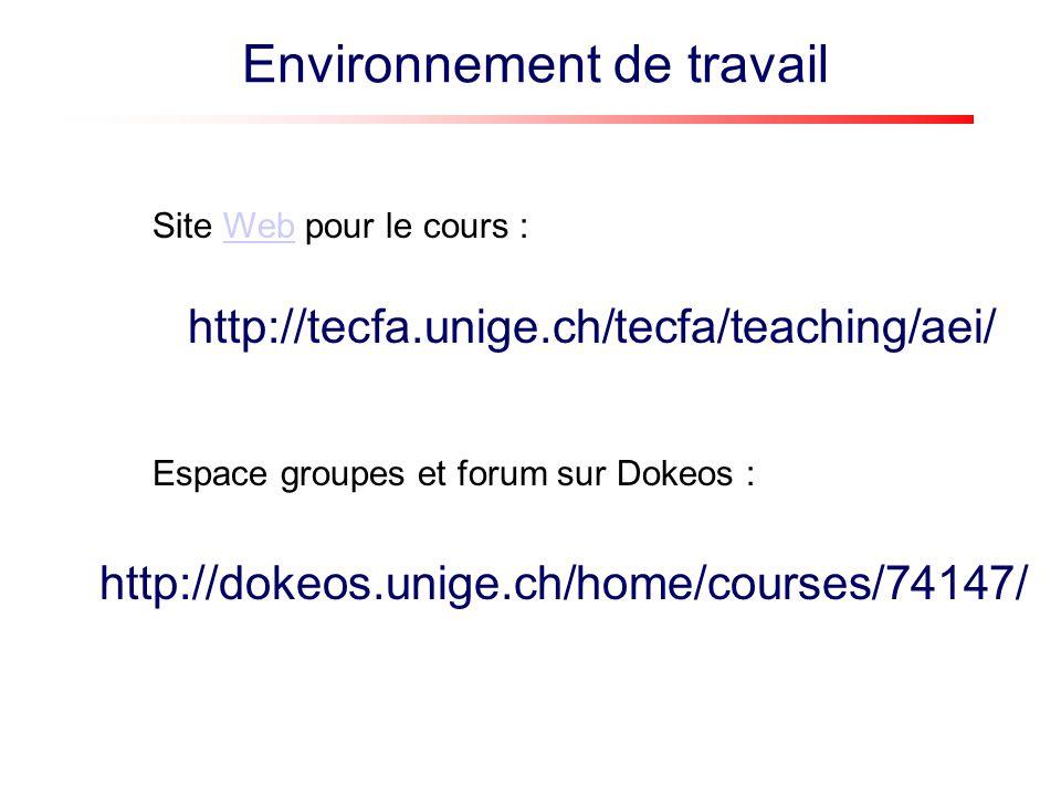 http://tecfa.unige.ch/tecfa/teaching/aei/ Site Web pour le cours :Web http://dokeos.unige.ch/home/courses/74147/ Espace groupes et forum sur Dokeos :
