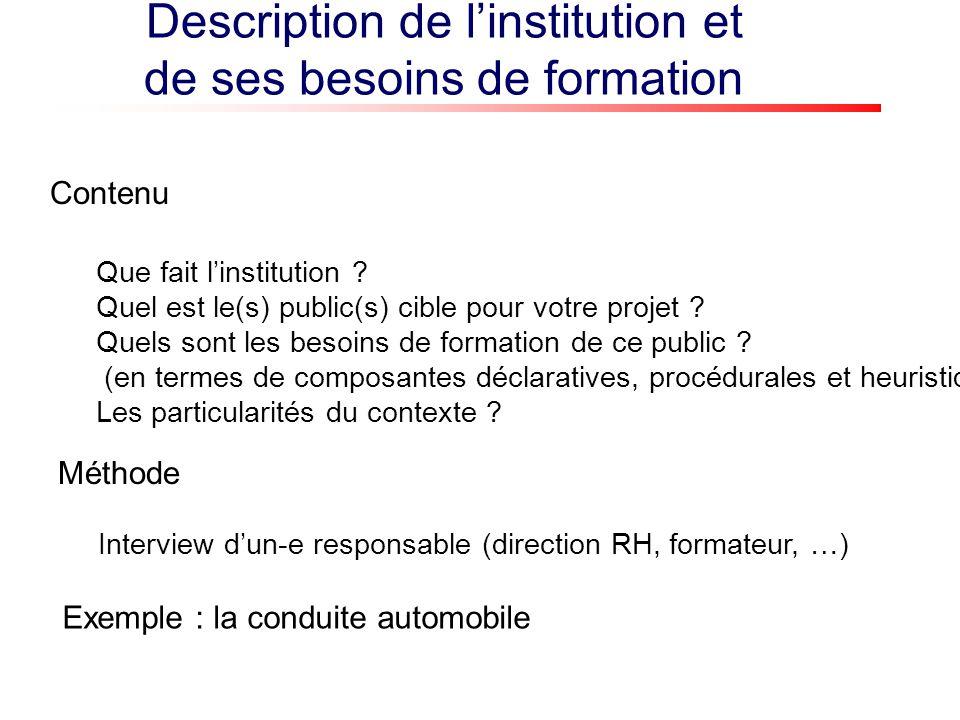 Description de linstitution et de ses besoins de formation Que fait linstitution ? Quel est le(s) public(s) cible pour votre projet ? Quels sont les b