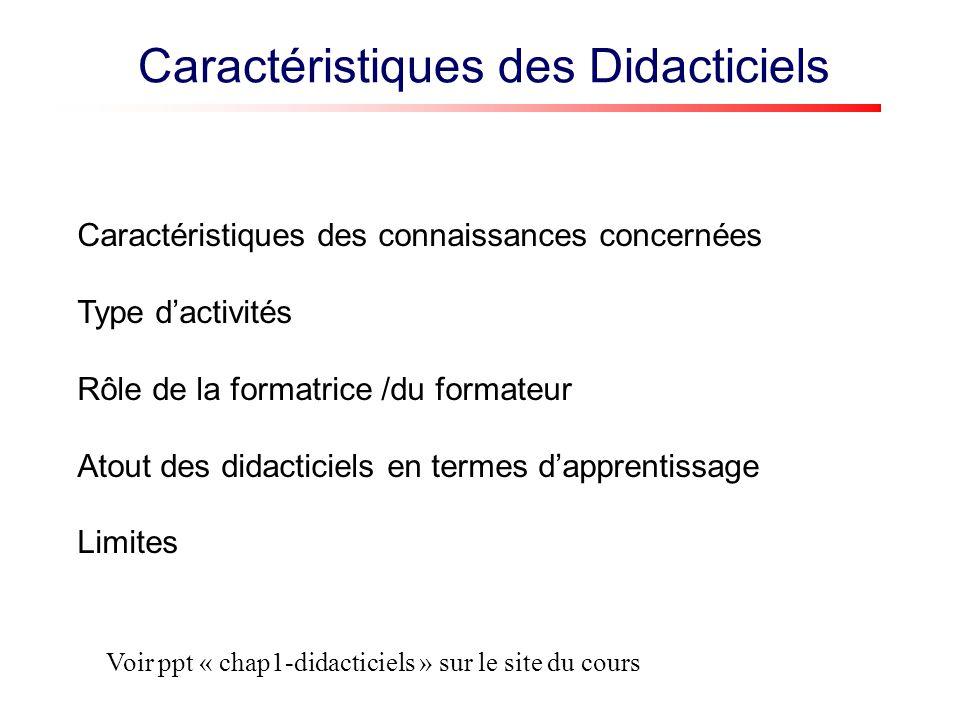 Caractéristiques des Didacticiels Caractéristiques des connaissances concernées Type dactivités Rôle de la formatrice /du formateur Atout des didacticiels en termes dapprentissage Limites Voir ppt « chap1-didacticiels » sur le site du cours