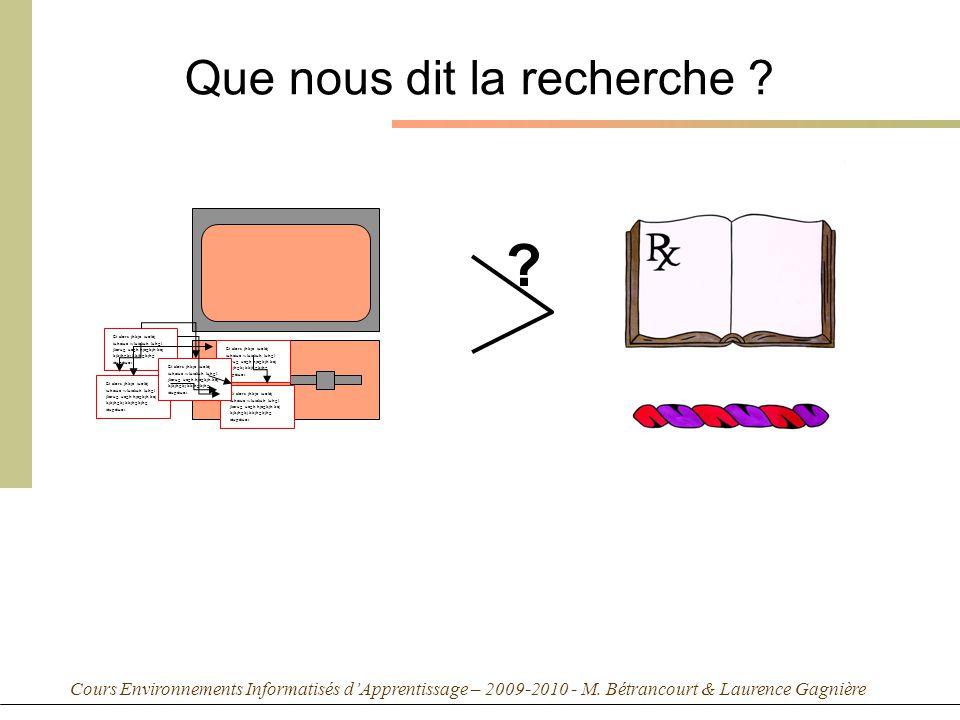 Cours Environnements Informatisés dApprentissage – 2009-2010 - M. Bétrancourt & Laurence Gagnière Que nous dit la recherche ? Et alors jhkje iuoléj iu