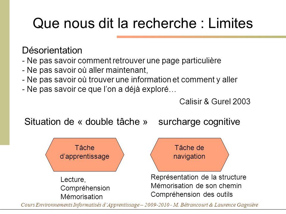 Cours Environnements Informatisés dApprentissage – 2009-2010 - M. Bétrancourt & Laurence Gagnière Que nous dit la recherche : Limites Désorientation -
