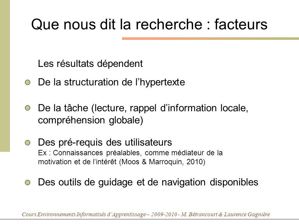 Cours Environnements Informatisés dApprentissage – 2009-2010 - M. Bétrancourt & Laurence Gagnière Que nous dit la recherche : facteurs Les résultats d