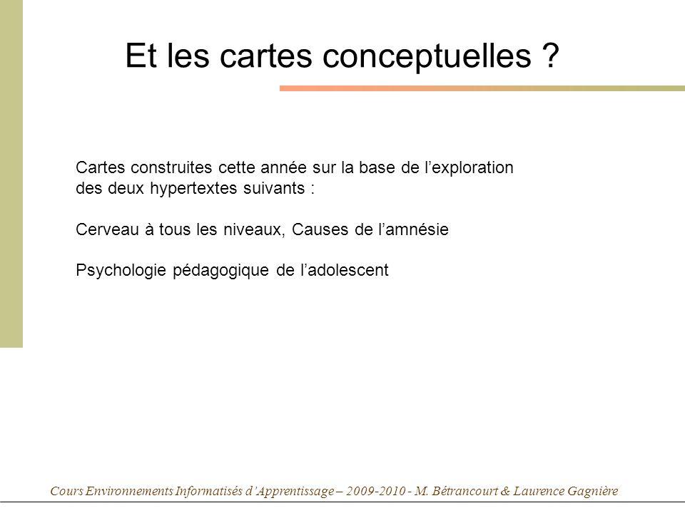 Cours Environnements Informatisés dApprentissage – 2009-2010 - M. Bétrancourt & Laurence Gagnière Et les cartes conceptuelles ? Cartes construites cet