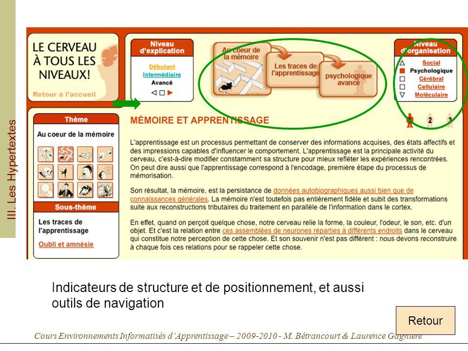 Cours Environnements Informatisés dApprentissage – 2009-2010 - M. Bétrancourt & Laurence Gagnière Retour III. Les Hypertextes Indicateurs de structure