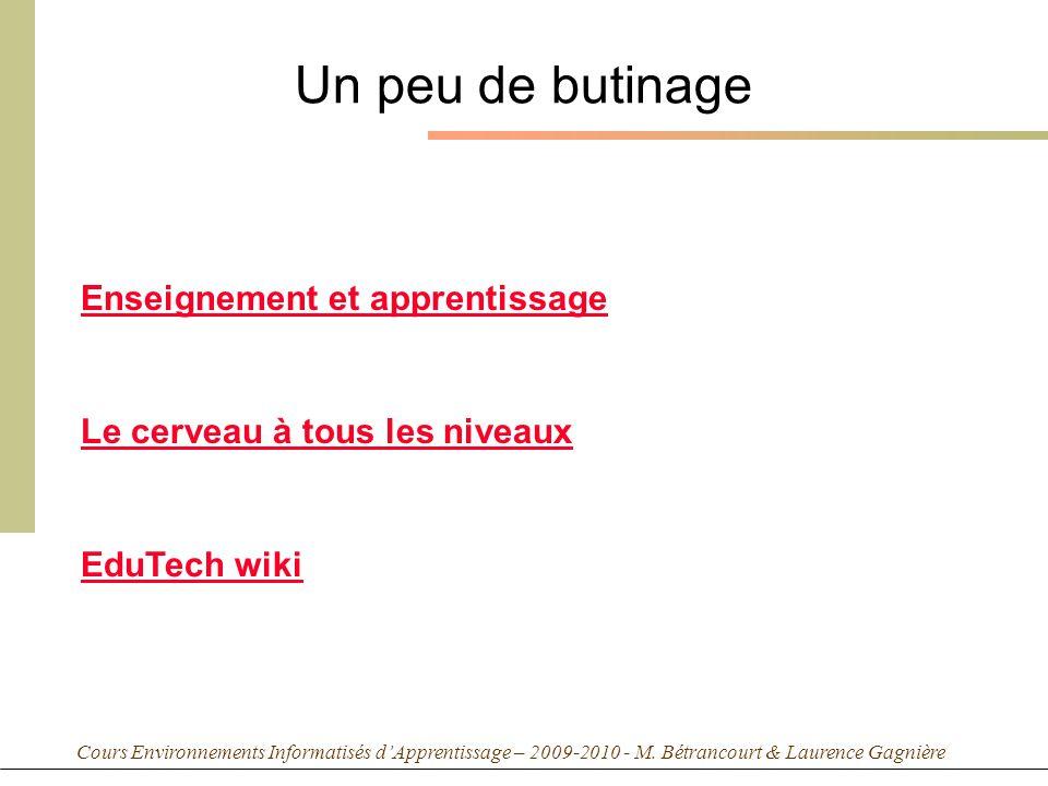 Cours Environnements Informatisés dApprentissage – 2009-2010 - M. Bétrancourt & Laurence Gagnière Un peu de butinage Enseignement et apprentissage Le