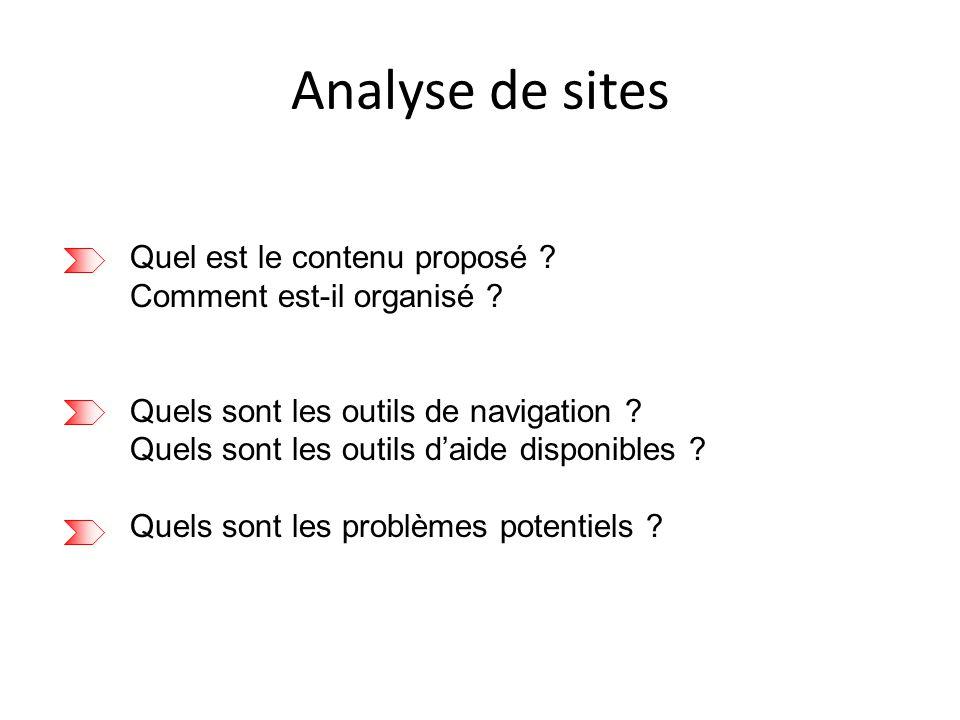 Analyse de sites Quel est le contenu proposé . Comment est-il organisé .