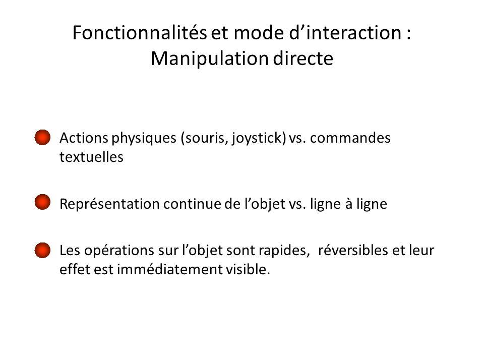 Fonctionnalités et mode dinteraction : Manipulation directe Actions physiques (souris, joystick) vs.
