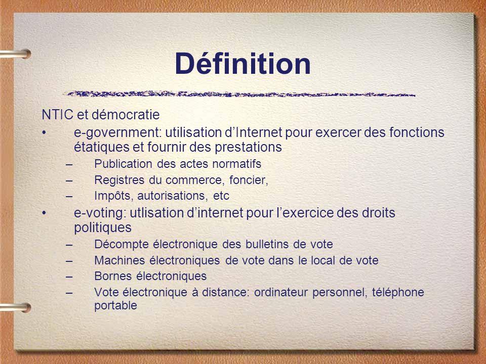 Définition Objet du vote électronique à distance Votations –Oui-non-abstention: relativement simple Elections –Suffrages multiples –Cumul, latoisage, panachage –Décompte complexe, suffrages nominatifs et complémentaires Exercice du droit dinitiative et de référendum –Signature électronique –Décentralisation Vote électronique des ressortissants de létranger