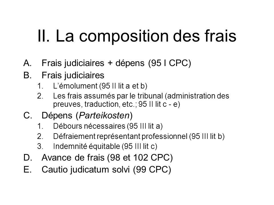 II. La composition des frais A.Frais judiciaires + dépens (95 I CPC) B.Frais judiciaires 1.Lémolument (95 II lit a et b) 2.Les frais assumés par le tr