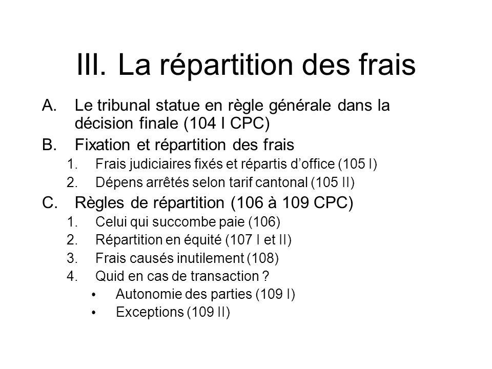 III. La répartition des frais A.Le tribunal statue en règle générale dans la décision finale (104 I CPC) B.Fixation et répartition des frais 1.Frais j