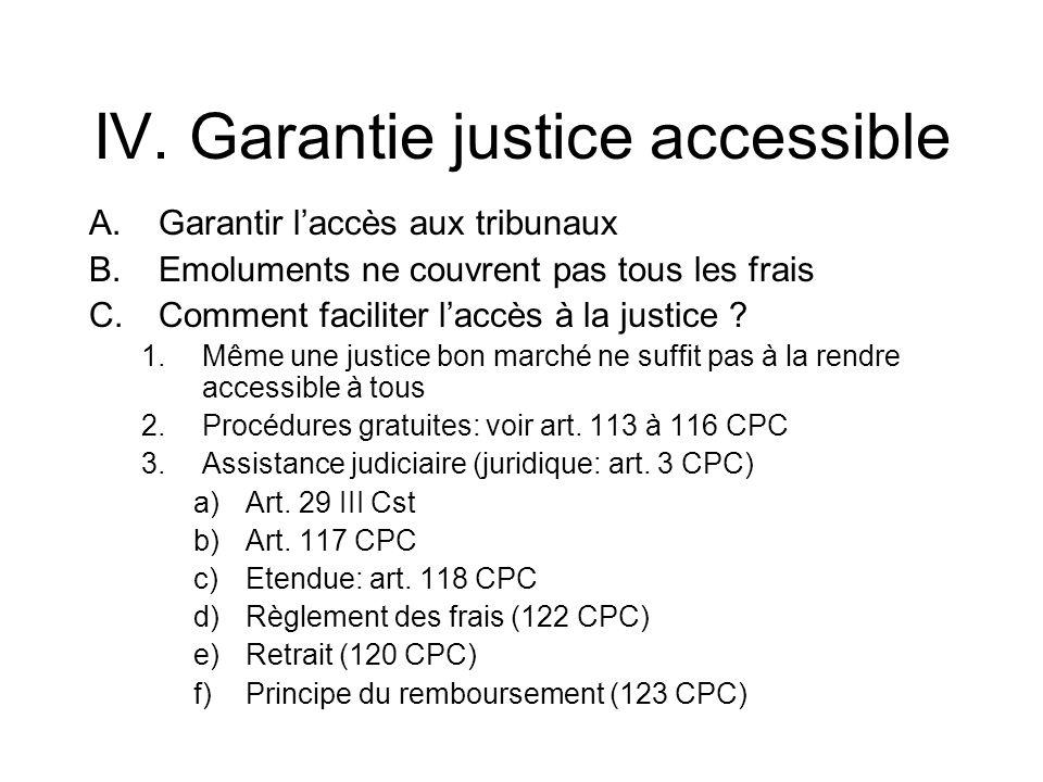 IV. Garantie justice accessible A.Garantir laccès aux tribunaux B.Emoluments ne couvrent pas tous les frais C.Comment faciliter laccès à la justice ?