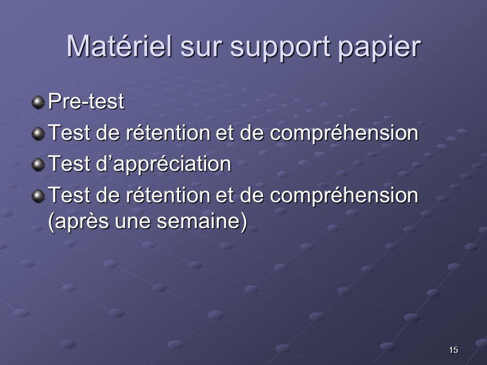 15 Matériel sur support papier Pre-test Test de rétention et de compréhension Test dappréciation Test dappréciation Test de rétention et de compréhens
