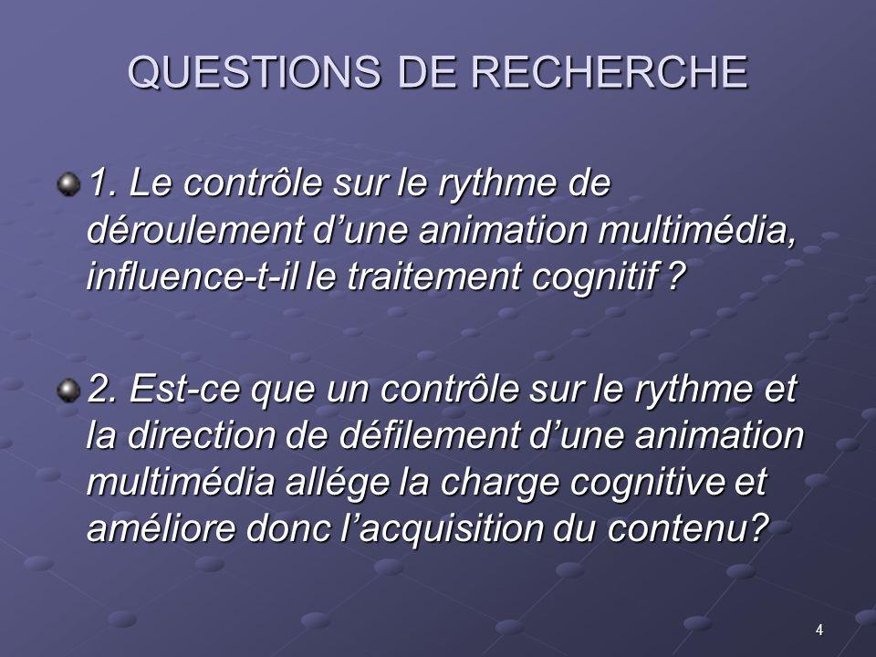 4 QUESTIONS DE RECHERCHE 1. Le contrôle sur le rythme de déroulement dune animation multimédia, influence-t-il le traitement cognitif ? 2. Est-ce que