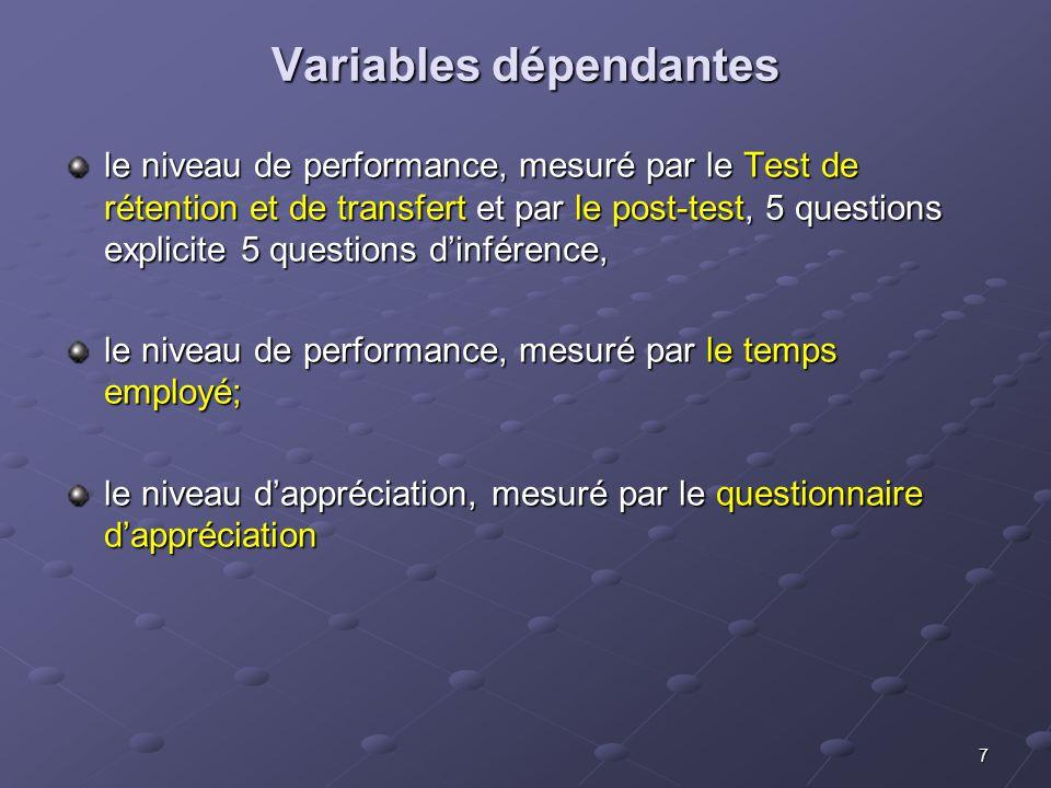 7 Variables dépendantes le niveau de performance, mesuré par le Test de rétention et de transfert et par le post-test, 5 questions explicite 5 questio
