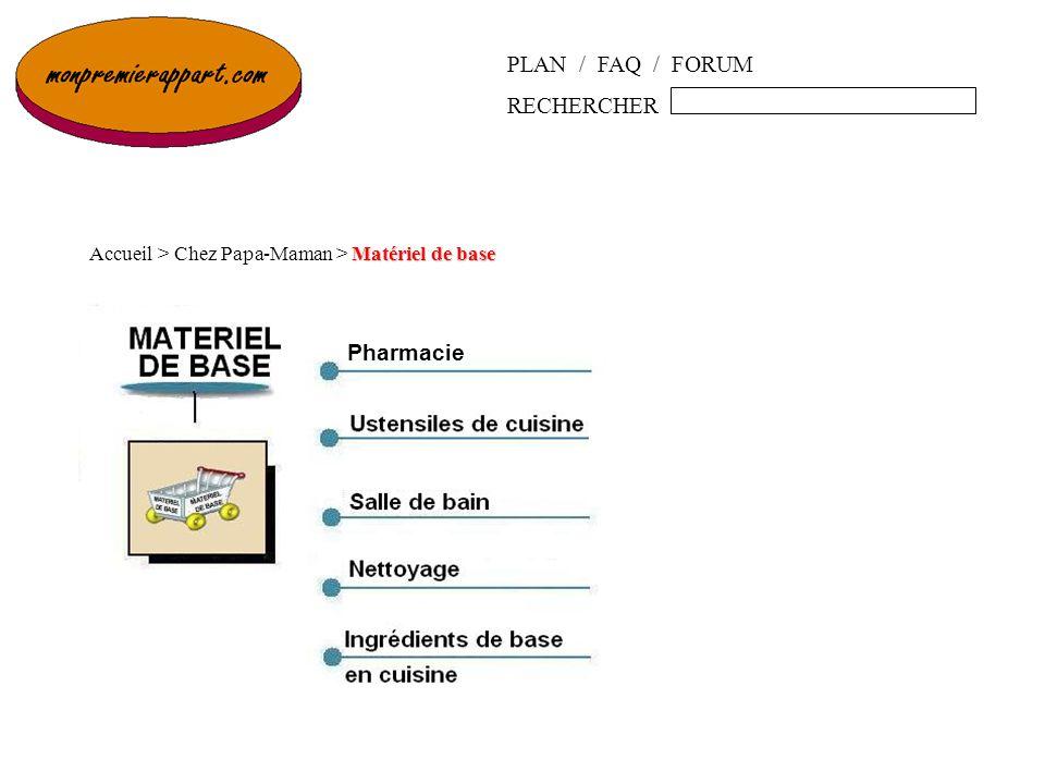 PLAN / FAQ / FORUM RECHERCHER Matériel de base Accueil > Chez Papa-Maman > Matériel de base Pharmacie
