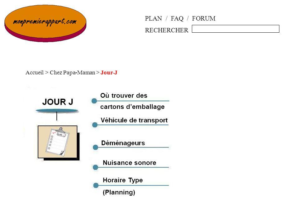 PLAN / FAQ / FORUM RECHERCHER Jour-J Accueil > Chez Papa-Maman > Jour-J Nuisance sonore Horaire Type (Planning) Où trouver des cartons demballage