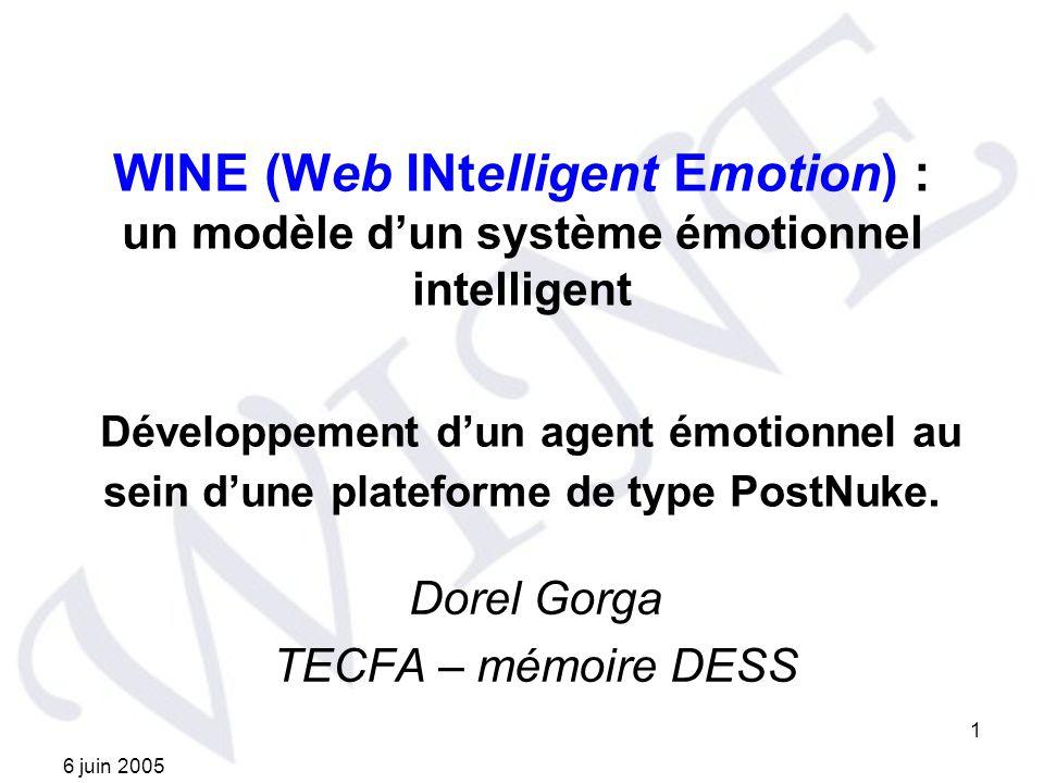 6 juin 2005 1 WINE (Web INtelligent Emotion) : un modèle dun système émotionnel intelligent Développement dun agent émotionnel au sein dune plateforme