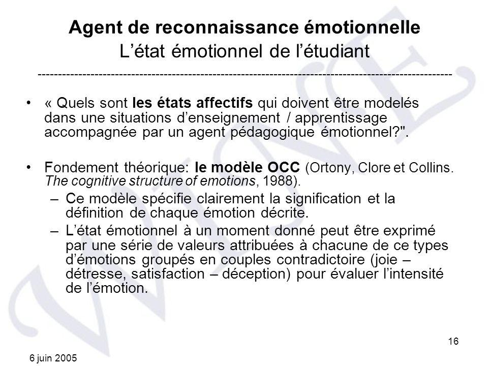 6 juin 2005 16 Agent de reconnaissance émotionnelle Létat émotionnel de létudiant « Quels sont les états affectifs qui doivent être modelés dans une s