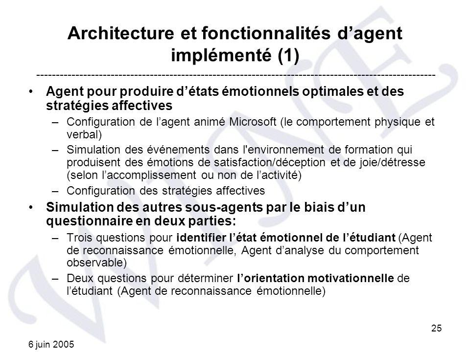 6 juin 2005 25 Architecture et fonctionnalités dagent implémenté (1) Agent pour produire détats émotionnels optimales et des stratégies affectives –Co