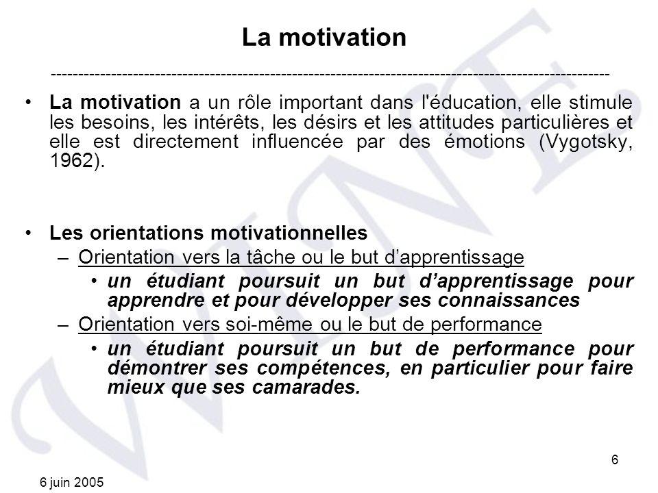 6 juin 2005 6 La motivation La motivation a un rôle important dans l'éducation, elle stimule les besoins, les intérêts, les désirs et les attitudes pa