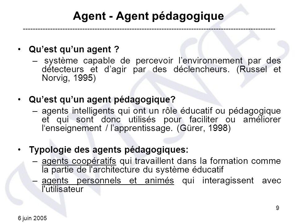 6 juin 2005 10 Agent pédagogique animé Les agents pédagogiques animés: –agents pédagogiques qui utilisent la technologie d agents synthétiques pour la présentation du contenu éducatif.