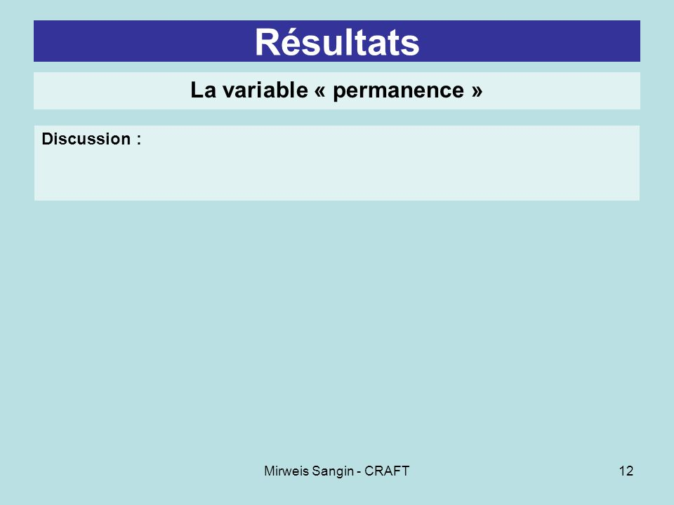 Mirweis Sangin - CRAFT12 Résultats La variable « permanence » Discussion :