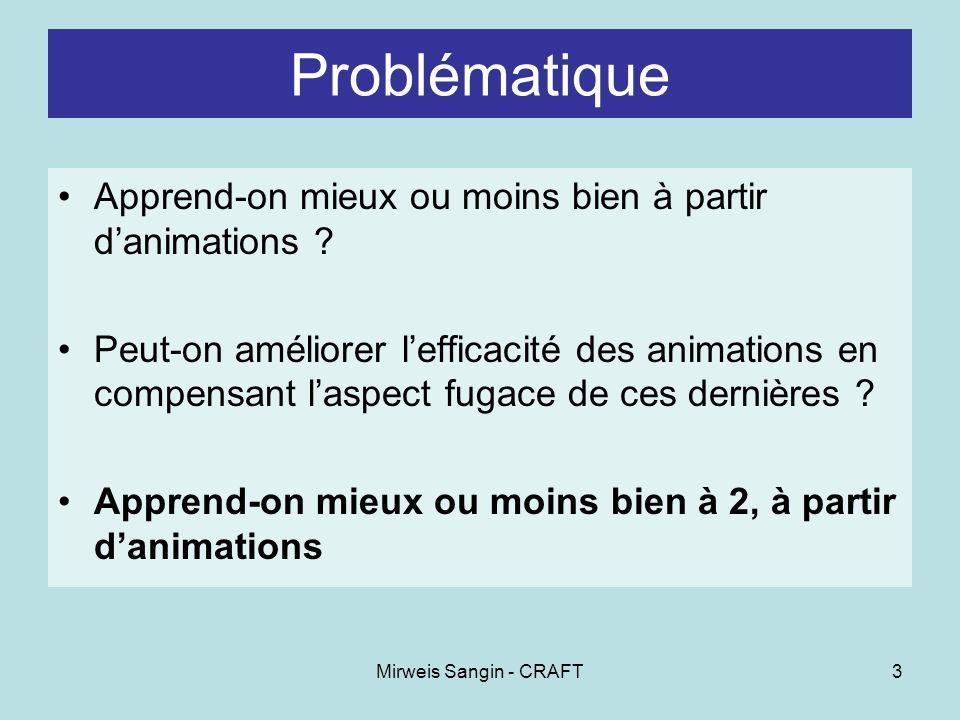 Mirweis Sangin - CRAFT3 Problématique Apprend-on mieux ou moins bien à partir danimations .