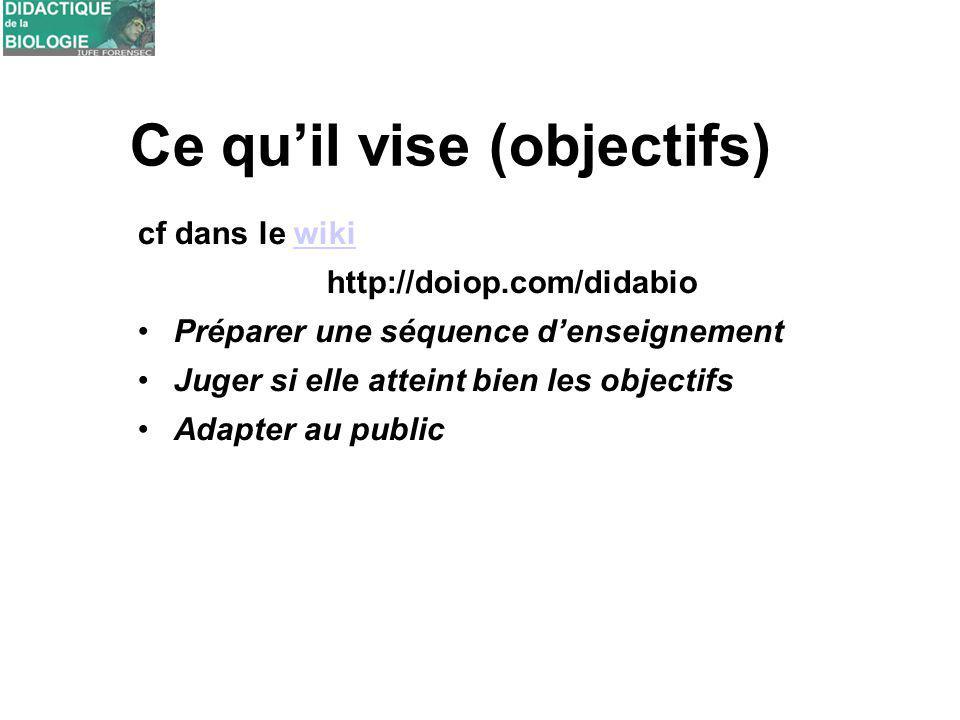 Ce quil vise (objectifs) cf dans le wikiwiki http://doiop.com/didabio Préparer une séquence denseignement Juger si elle atteint bien les objectifs Ada