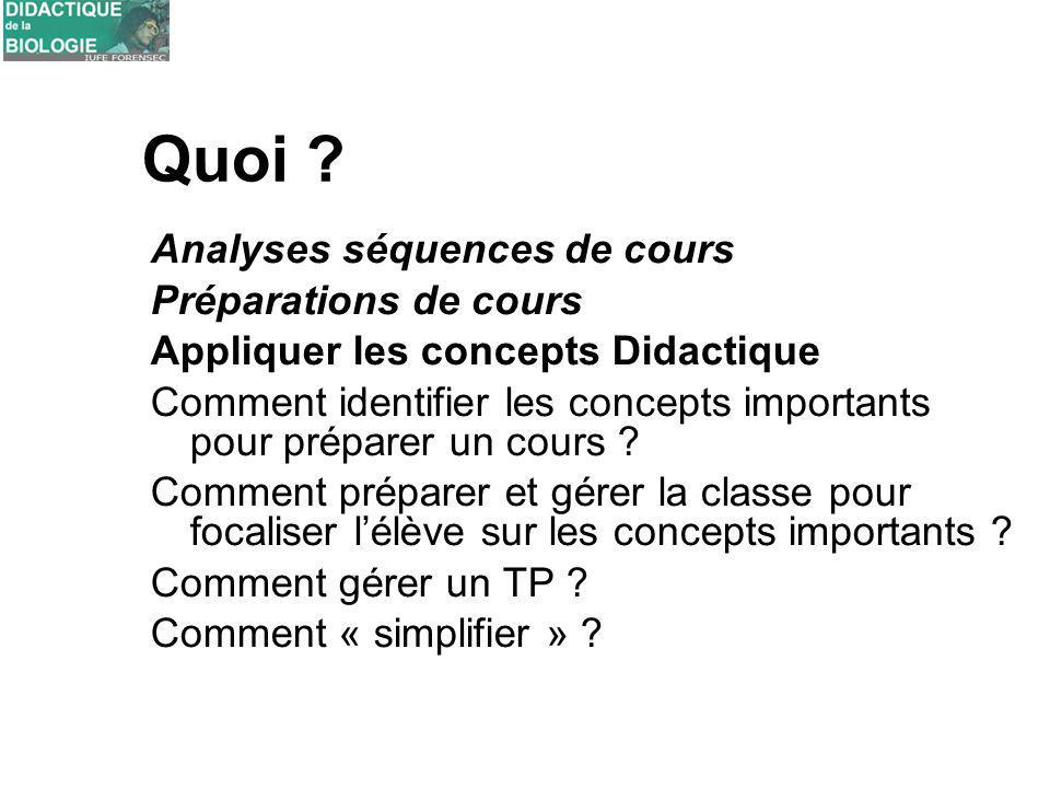 Quoi ? Analyses séquences de cours Préparations de cours Appliquer les concepts Didactique Comment identifier les concepts importants pour préparer un